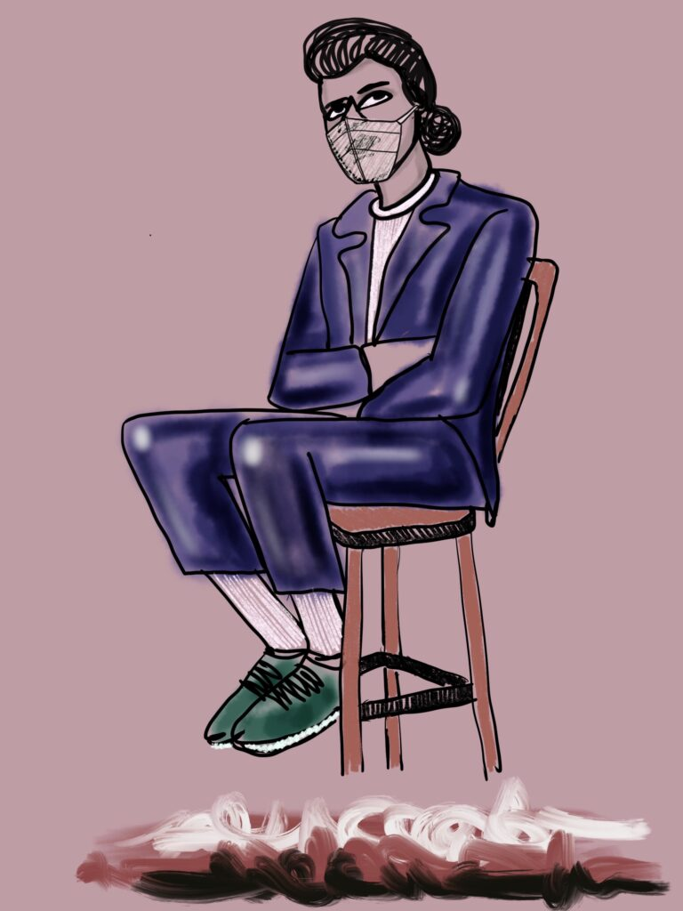 Perched on a tall chair, a masked person contemplates with arms crossed. Colors swirl beneath.