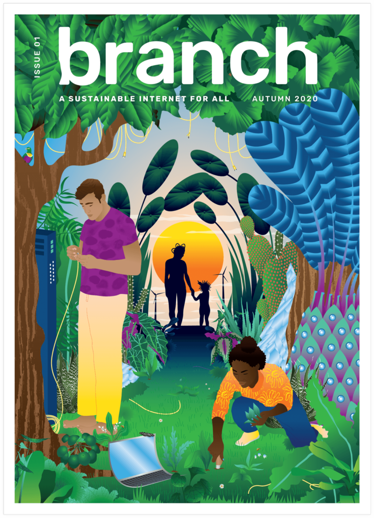 Branch Issue 1 cover by Hélène Baum. A hopeful and colorful scene that reimagines our relationship with the internet and nature
